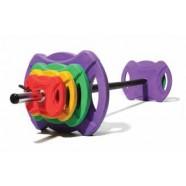 Jordan Gryf Fitness z Zestawem Obciążeń Gumowanych do Treningu Pump (2x5kg, 2x2,5kg, 2x1,25kg + gryf + zaciski)